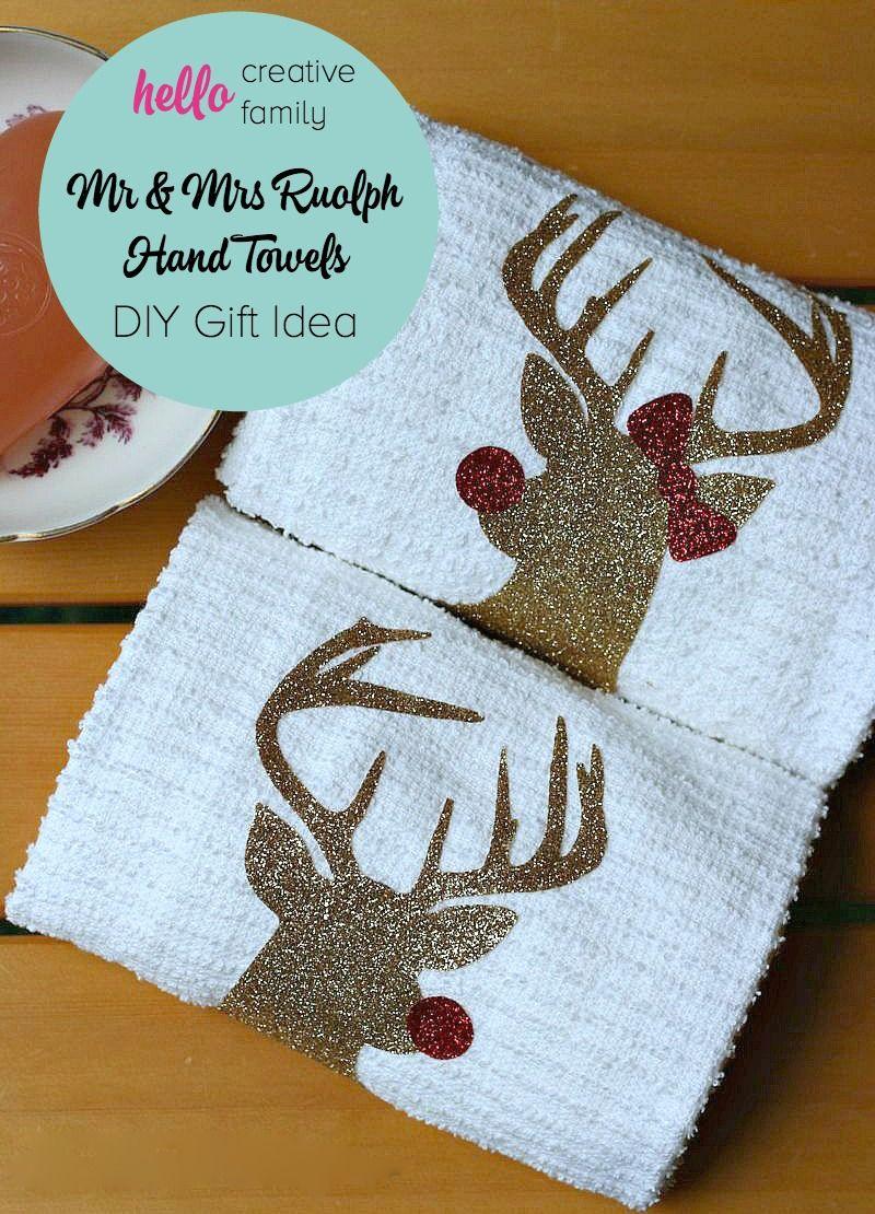 Handmade hostess christmas gift idea mr and mrs rudolph towels diy christmas gift idea diy mr mrs rudolph hand towels made on the negle Images