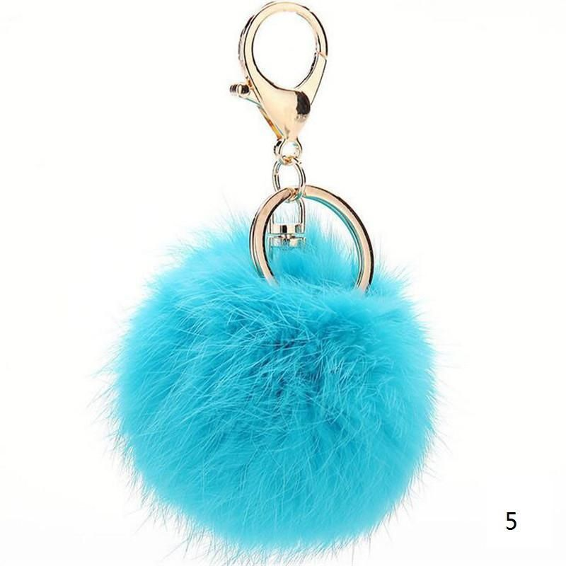 2016 Fashion 13 Colors Rabbit Fur Keychain Ball PomPom Cell Phone Car Keychain Pendant Handbag Gold/Silver Metal Charm Key Ring