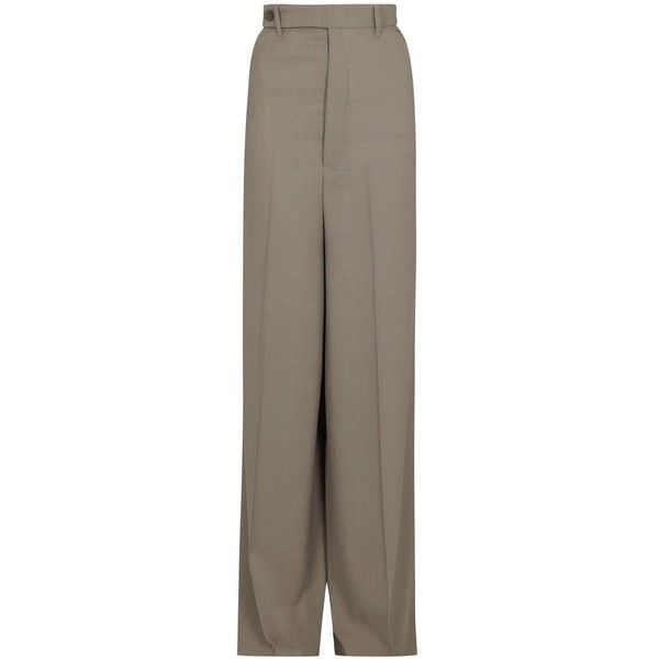 Rick Owens Astaire clay wide-leg wool trousers ($750) ❤ liked on ...