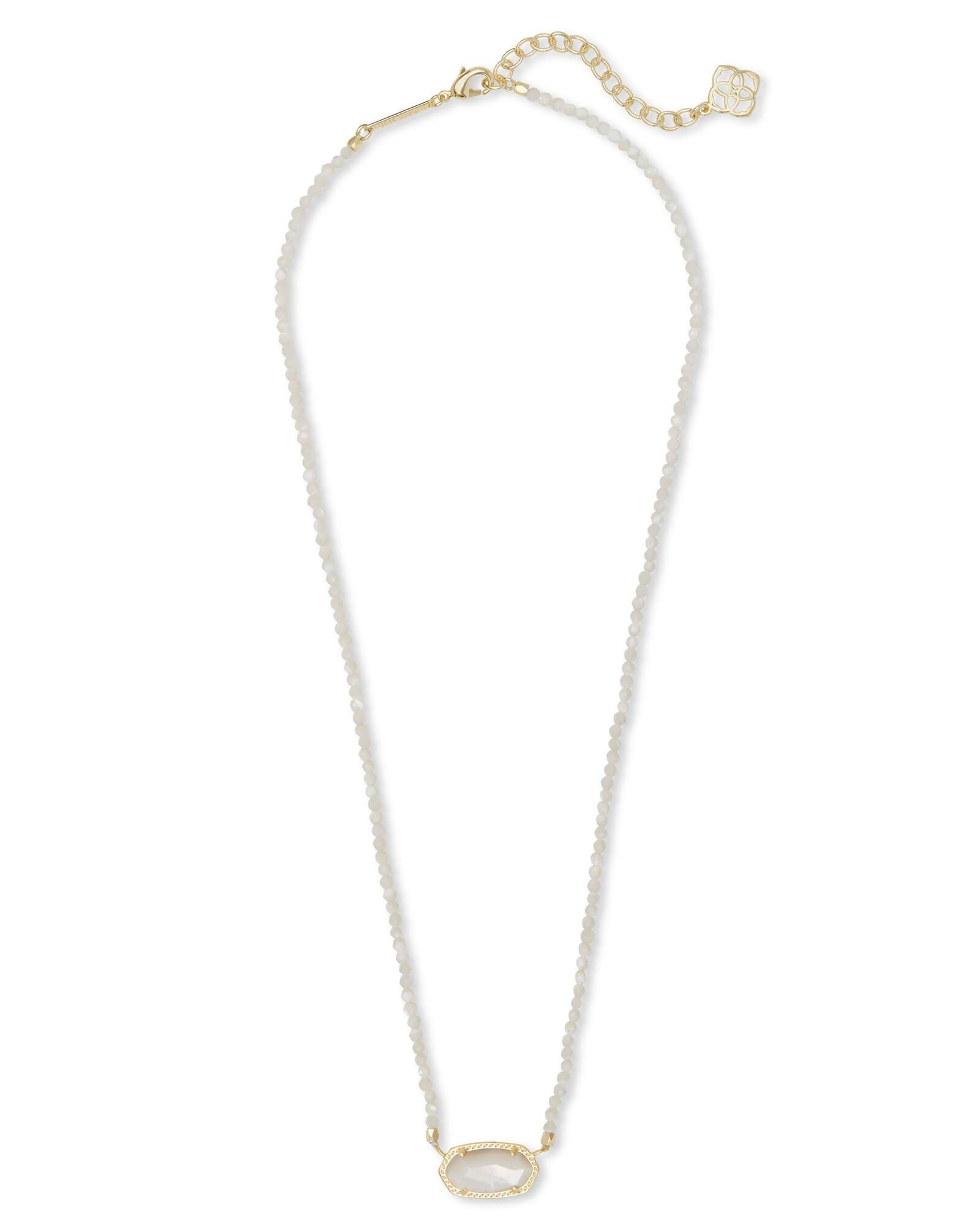 Kendra scott elisa gold beaded pendant necklace in ivory pearl