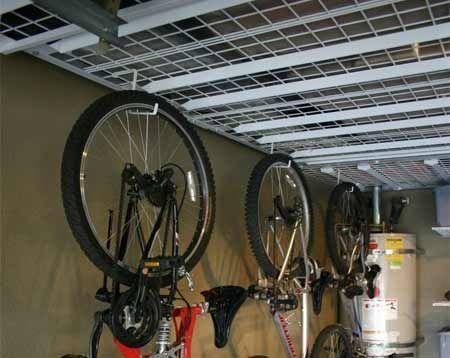 bike hooks for storage of bikes on our overhead garage storage racks