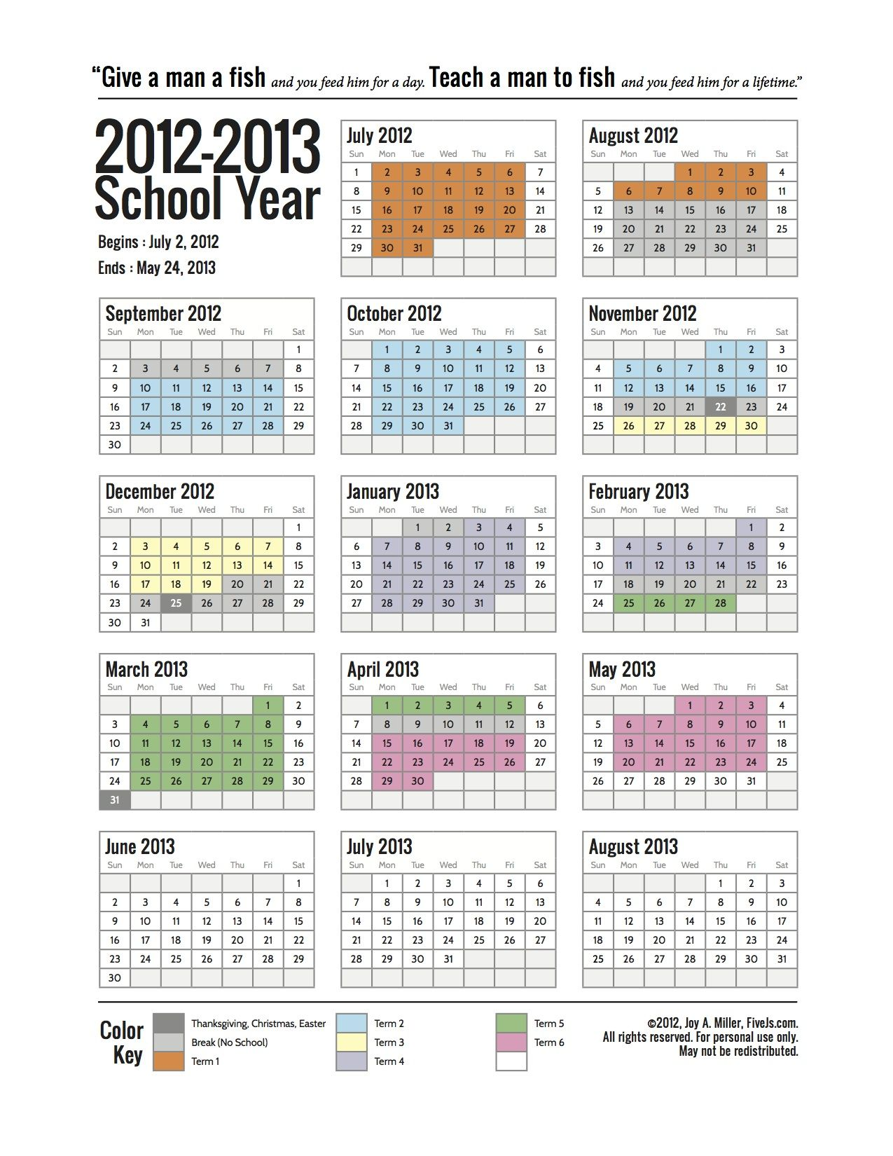 Free Printable School Calendar For