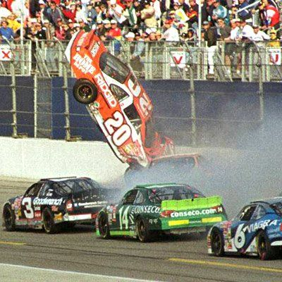 Daytona 2001.  Tony racing for Joe Gibbs Racing #20 Home Depot, gets airborne and he was leading the race.