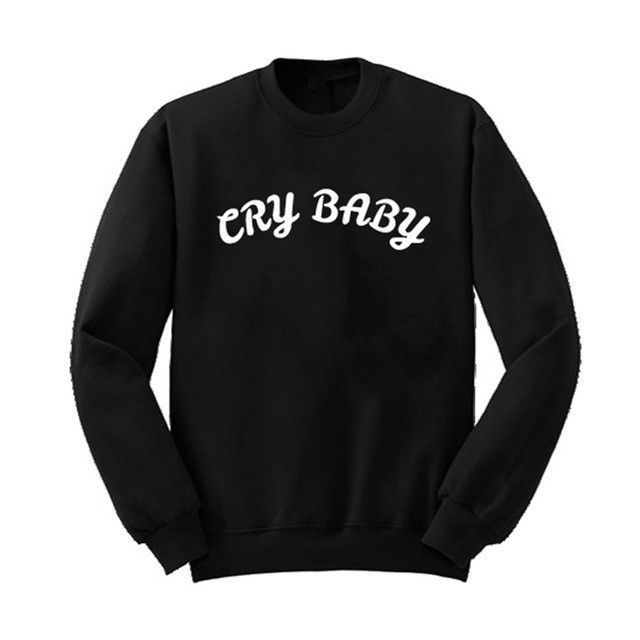Jahurto Cry Baby Graffiti Letters Styles Print Unisex Clothes Cool Pullover  Crewneck Streetwear Sweatshirt Joggers Women