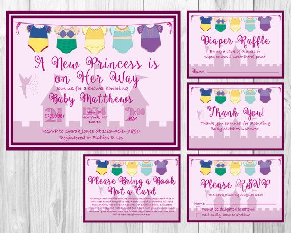 Disney princess baby shower invitation rsvp cards book request disney princess baby shower invitation rsvp cards book request diaper raffle and thank filmwisefo