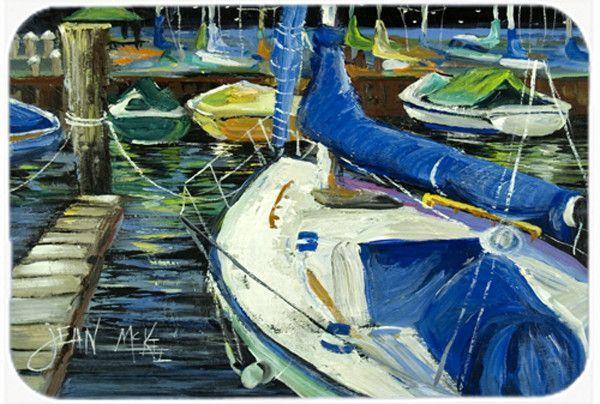 Night on the Docks Sailboat Glass Cutting Board