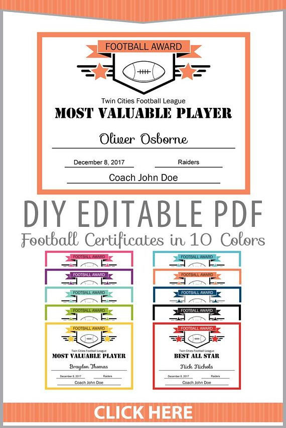 Editable PDF Sports Team Football Certificate Award Template