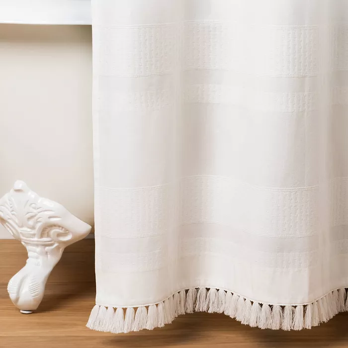Textured Stripe Shower Curtain White Hearth Hand With