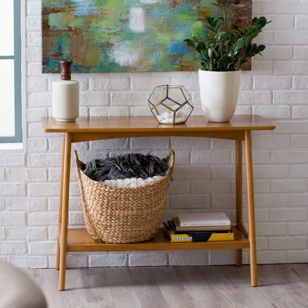 Fantastic Belham Living Darby Mid Century Modern Sofa Table Pecan Gamerscity Chair Design For Home Gamerscityorg