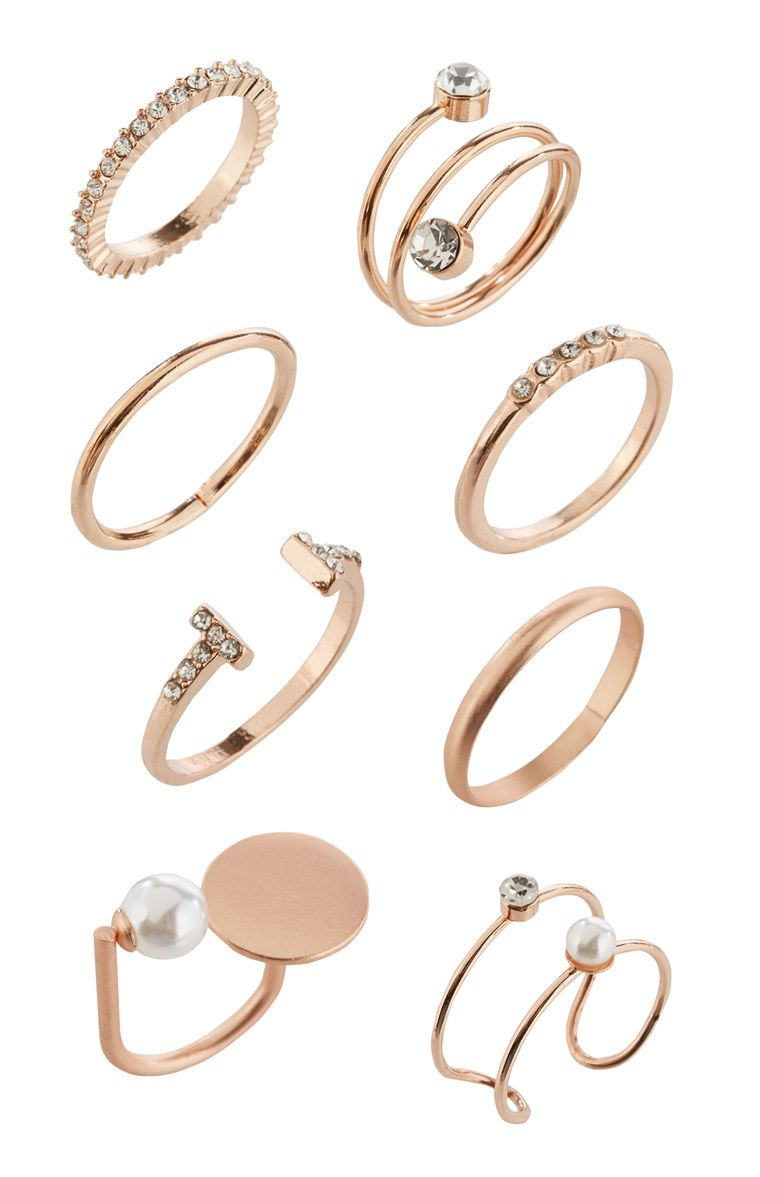 Primark 8pk Rose Gold Ring