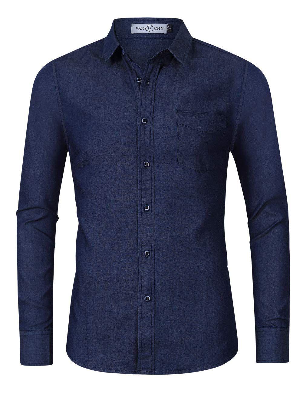 a6770a77b718a VAN CHY Mens Slim Fit Long Sleeve Denim Work Shirt Button Down Dress Shirts  Dark Blue
