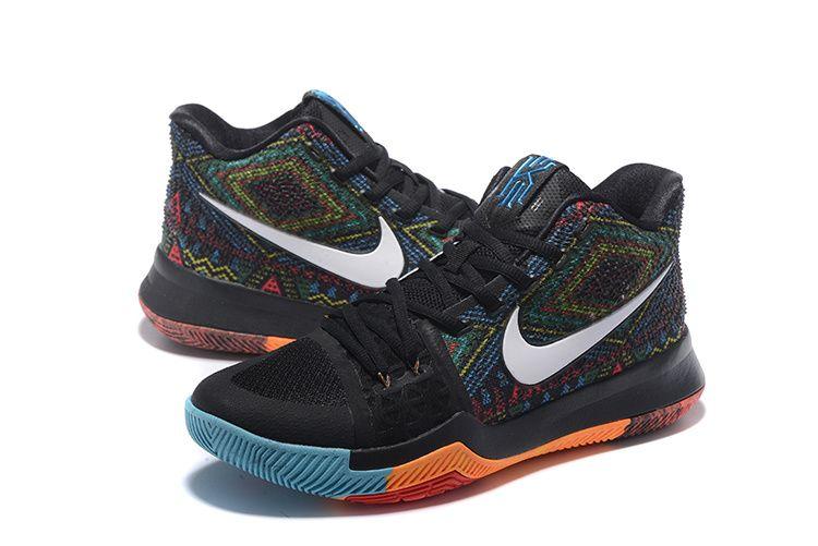 the latest 251e9 eeaa1 Pas Cher 2018 Nike Kyrie 3 Black White Orange Blue Basketball Shoes