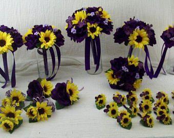 Sunflower Bridal Bouquet-Fall Bridal Bouquet-Cascade Sunflower Bouquet-Rustic Burlap Sunflower bouquet-Daisy Bouquet-Silk Flower Package #silkbridalbouquet