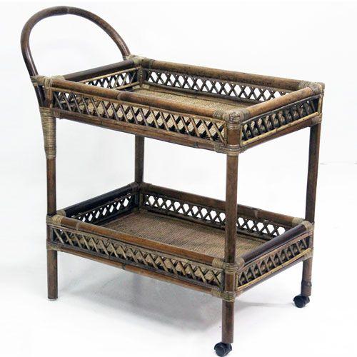 desserte charriot en rotin naturel sur roulettes moka desserte decoclico ventes pas. Black Bedroom Furniture Sets. Home Design Ideas