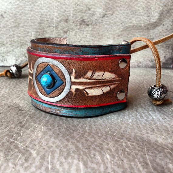 Handmade Leather Native American Stamped Feather Cuff Bracelet