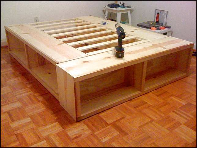 Full Size Bed Frame With Storage Plans With Images Diy