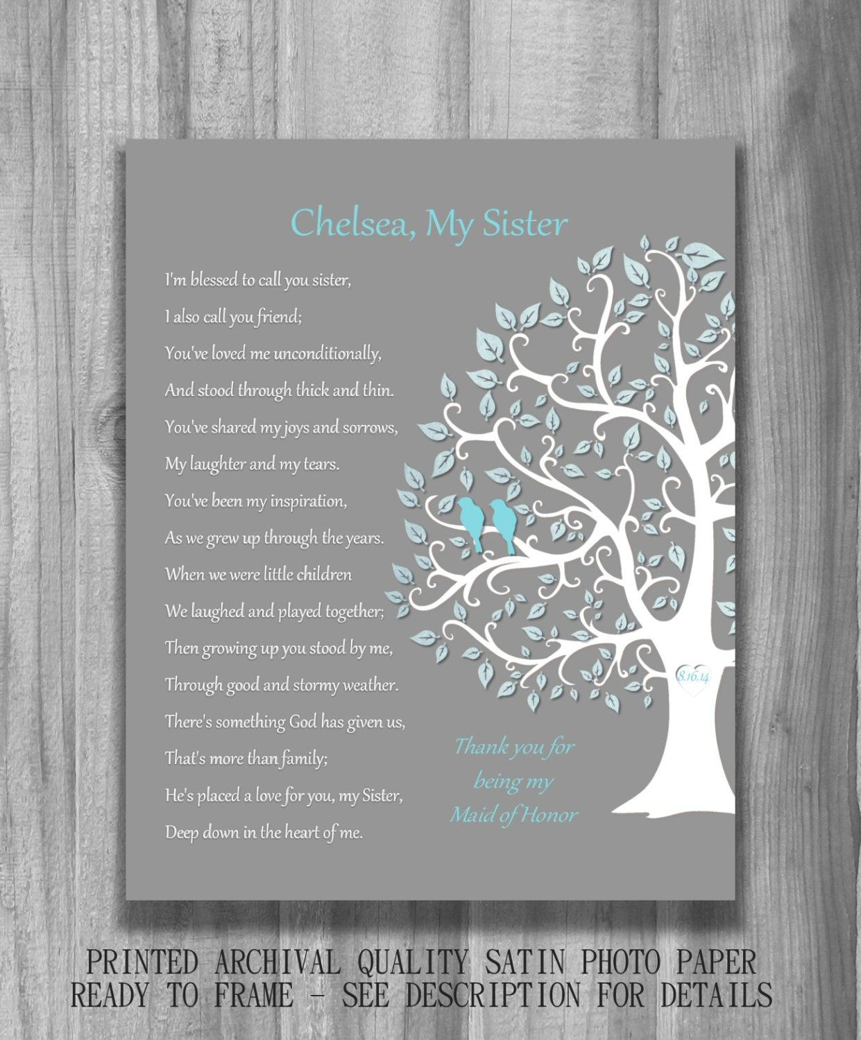 SISTER GIFT Bridesmaid Maid Of Honor By PrintsbyChristine