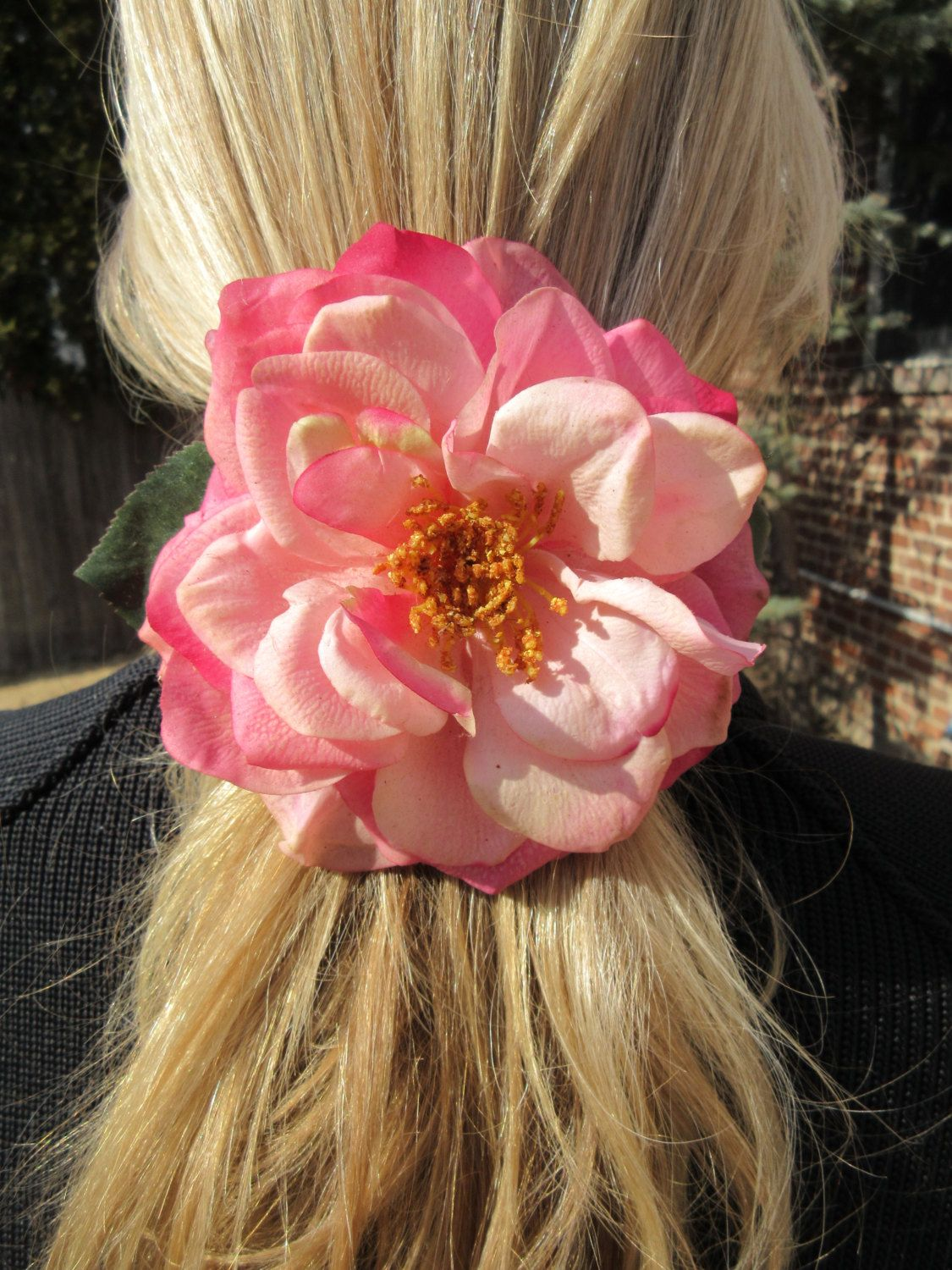 Silk Flower Barrette Large Pink Floral Hair Clip Boho Chic Accessory