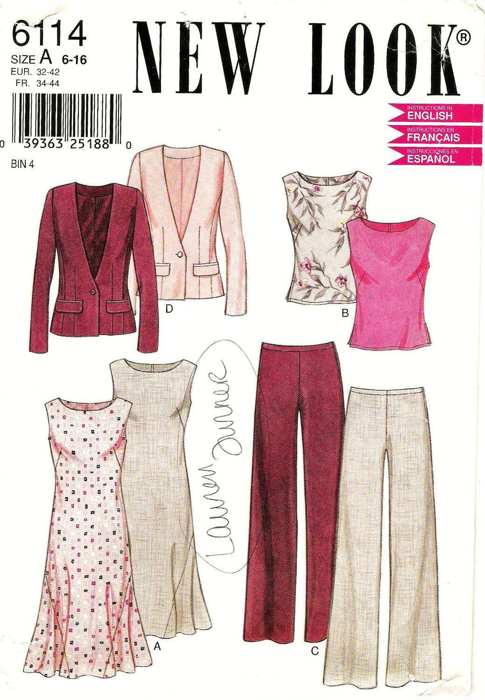 Sleeveless Dress with Blazer Pattern New Look 6114 (Womens sizes 6-8 ...
