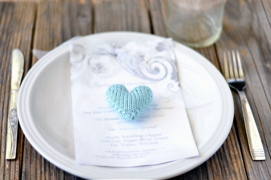 Knitted Wedding Gifts: One Small Heart: Hand Knit Wedding Favor Or Gift