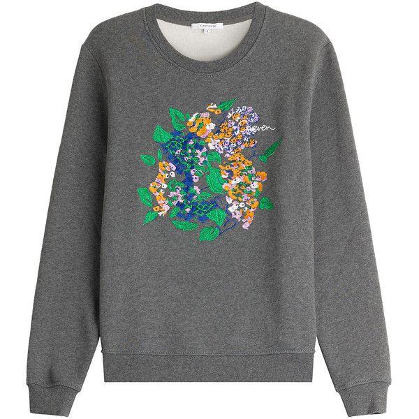 Carven Printed Cotton Sweatshirt (318 AUD) ❤ liked on Polyvore featuring tops, hoodies, sweatshirts, grey, floral sweatshirt, gray top, floral print top, cotton sweatshirt and sweatshirts hoodies