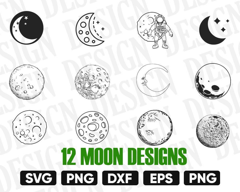 Moon Svg Moon Vector Moon Silhouette Moon Stencil Moon Etsy Moon Silhouette Moon Vector Clip Art