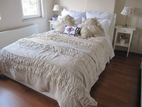 Ruched Bedding Shabby Cottage Chic Duvet Cover Full Queen Super Cal