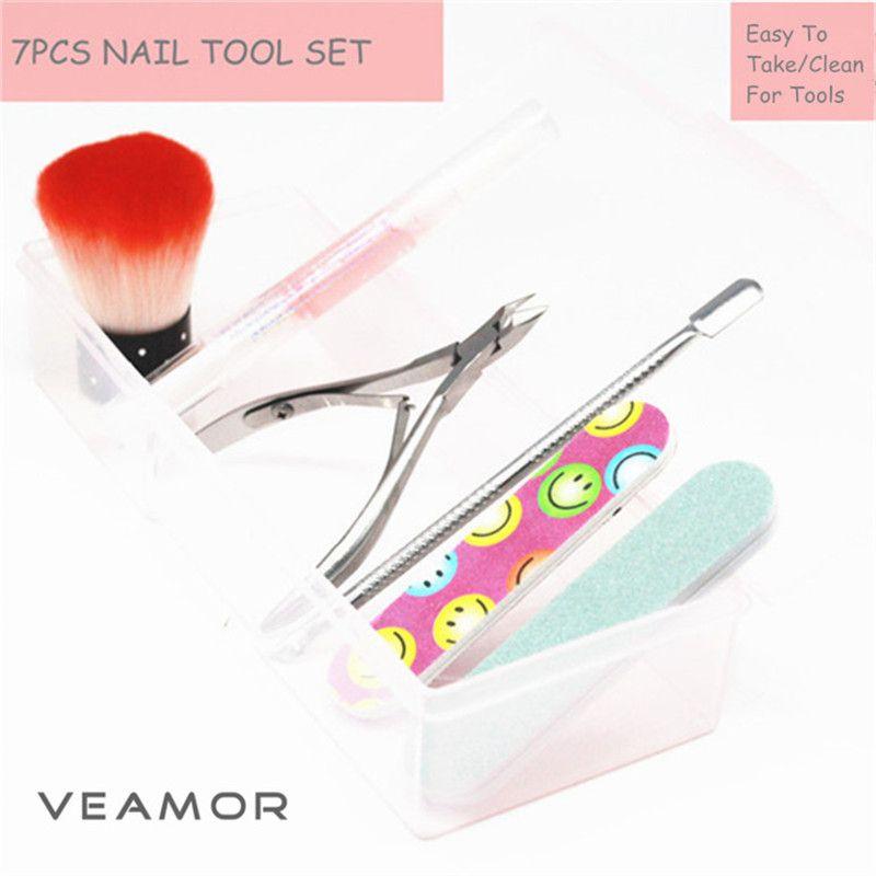 7PCS/SET Nail Brush Cuticle Clipper and Pusher Nail Remover ...