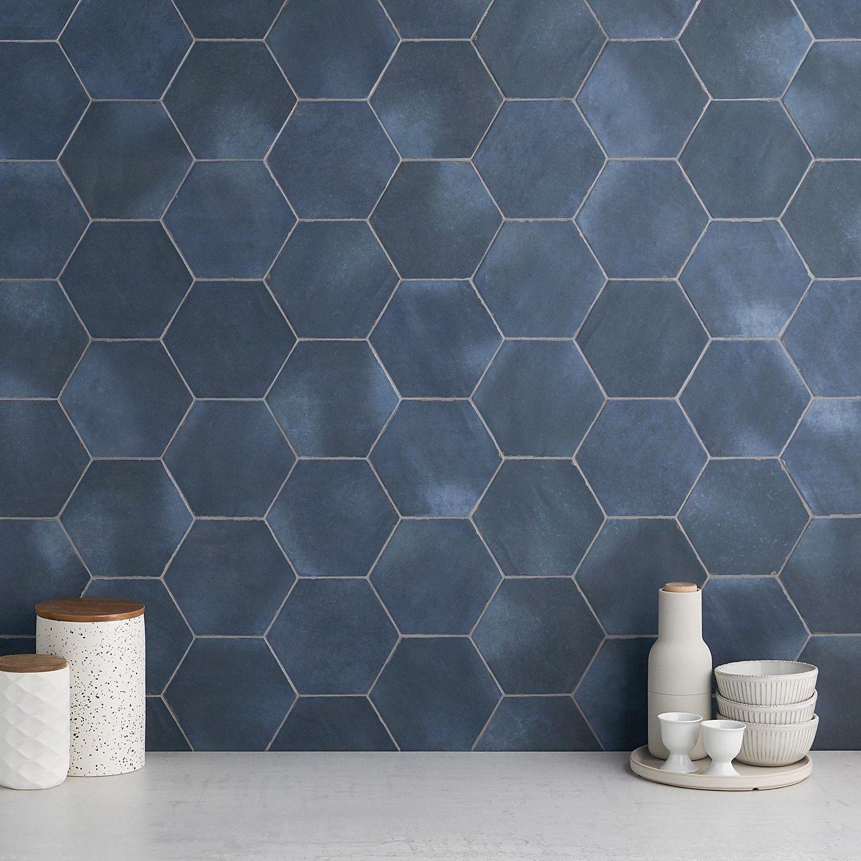 Sasha Hex Chiazza Marino 6 Matte Porcelain Hexagon Tile In 2020