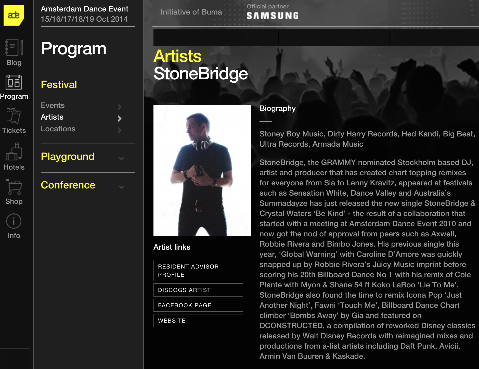 My #ADE2014 artist profile looking swish this year http://www.amsterdam-dance-event.nl/artists/stonebridge/2602/