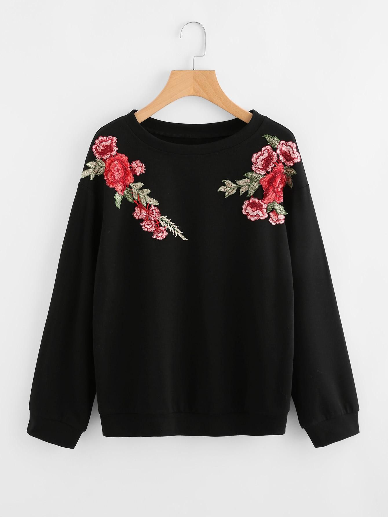 #AdoreWe #SheIn Womens - SheIn Embroidered Rose Patch Sweatshirt -  AdoreWe.com