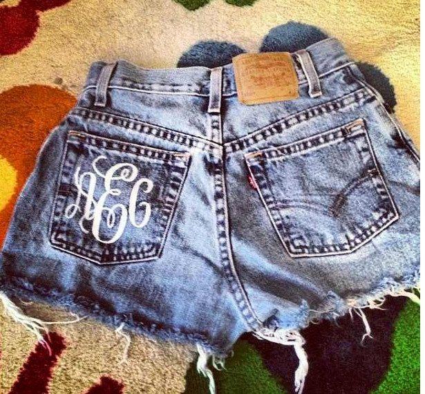 Monogrammed High Waisted Denim Shorts Custom Made Preppy Initial Shorts Sorority Tumblr Hipster. $60.00, via Etsy.