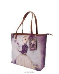 9e228e3164 Mirabelle Large Shopper Bag with Zipper - Amethyst Butterfly
