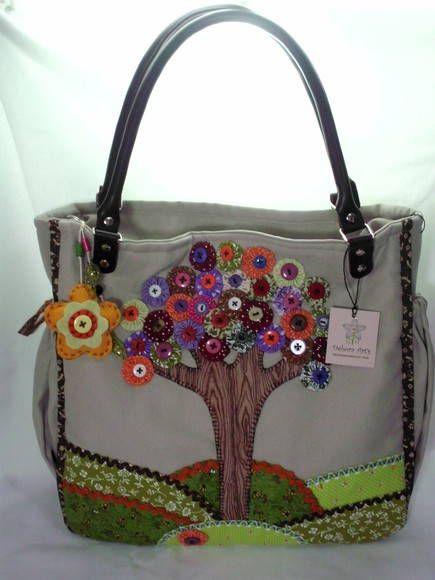139519aa3 Bolsa Árvore de fuxico | Couro ecologico, Seja único e Tecido de algodão