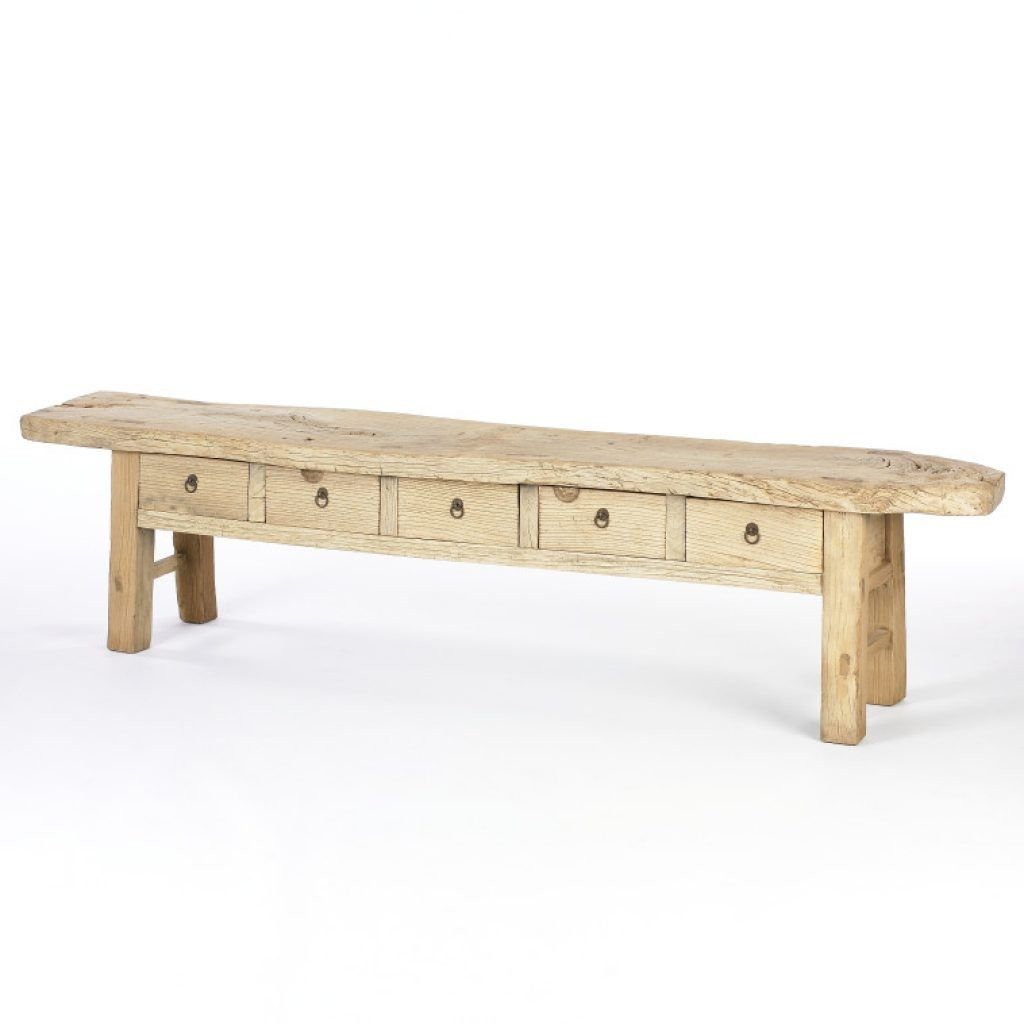 Awesome Rustic White Oak Wood Coffee Table With Side Drawers With