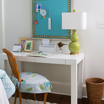 Girlu0027s Bedroom Features A Framed Turquoise Pin Board Over A White Lacquer  Desk, West Elm Parsons Desk With Drawers, Topped With A Lime Green Double  Gourd ...