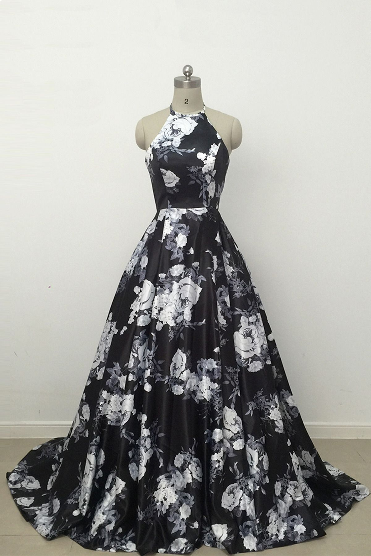 Cute black and white floral satin halter prom dress prom