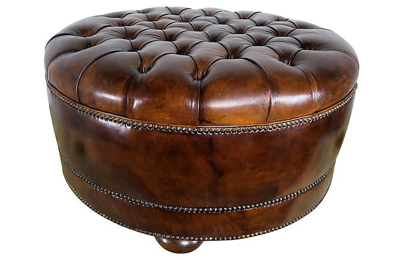 Remarkable Leather Tufted Round Ottoman With Bun Feet Products Uwap Interior Chair Design Uwaporg