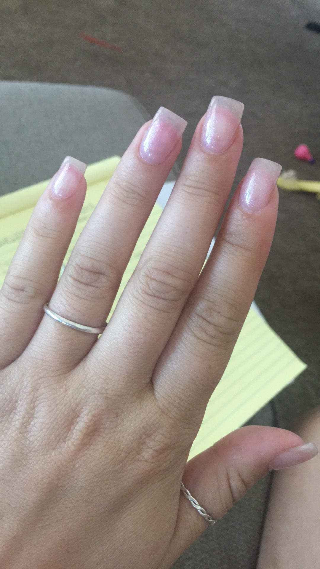 Shellac Acrylic Nails: Super Natural Nails. Pink Acrylic With One Coat Of Clear