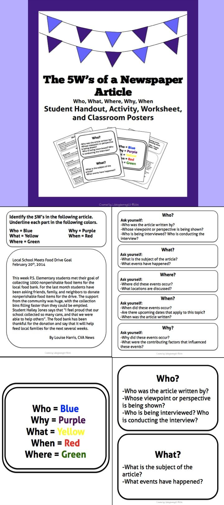 worksheet News Report Worksheet the 5ws of a newspaper article student activity handout classroom posters