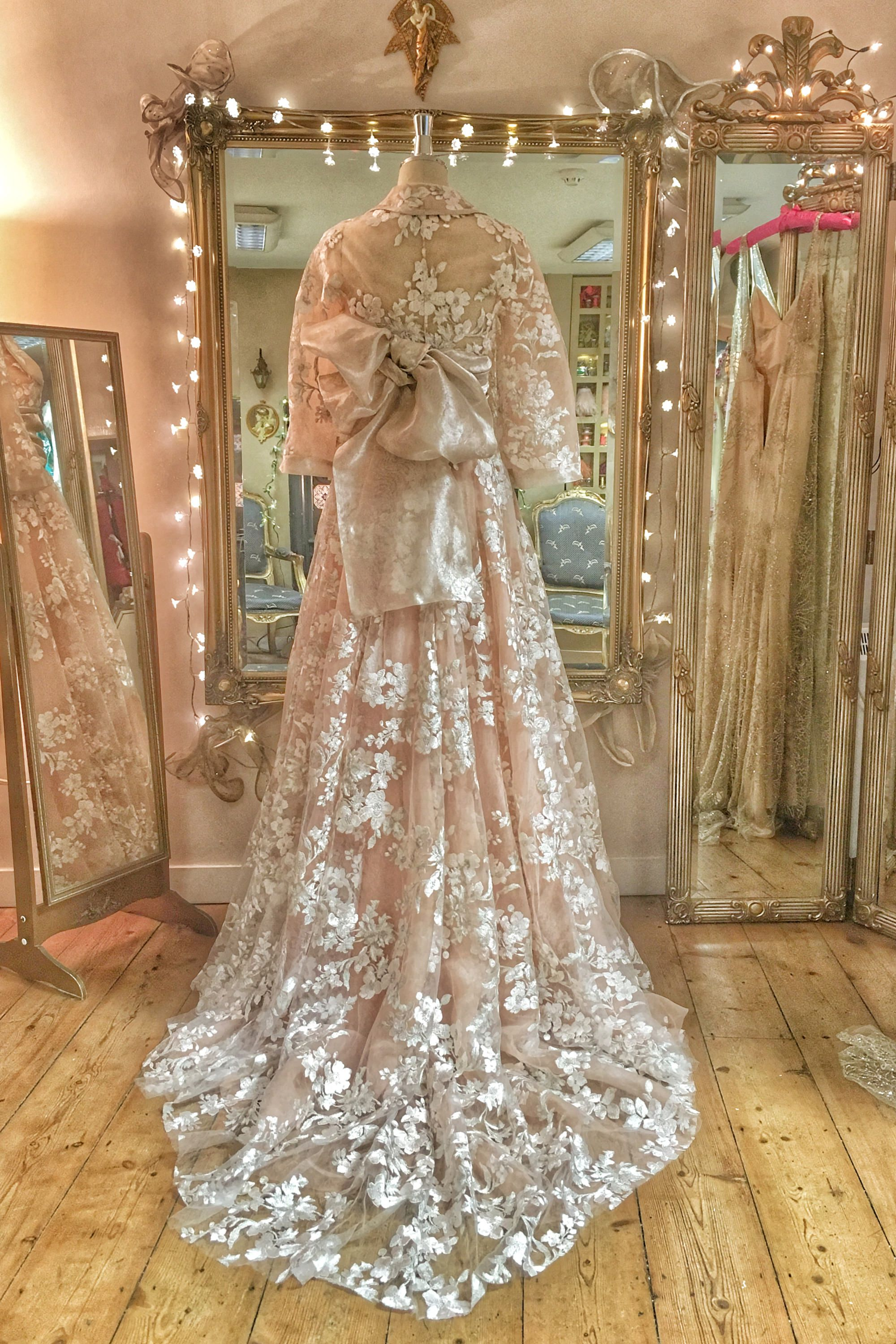 4d765588b2a Embroidered tulle cherry blossom silk kimono inspired wedding dress with  jacket by Joanne Fleming Design