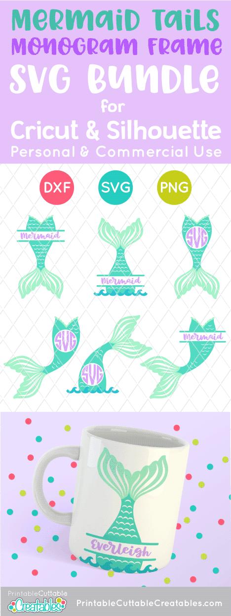 Mermaid Tail Monogram Svg Frame Bundle For Cricut Silhouette Monogram Frame Mermaid Svg Monogram Svg