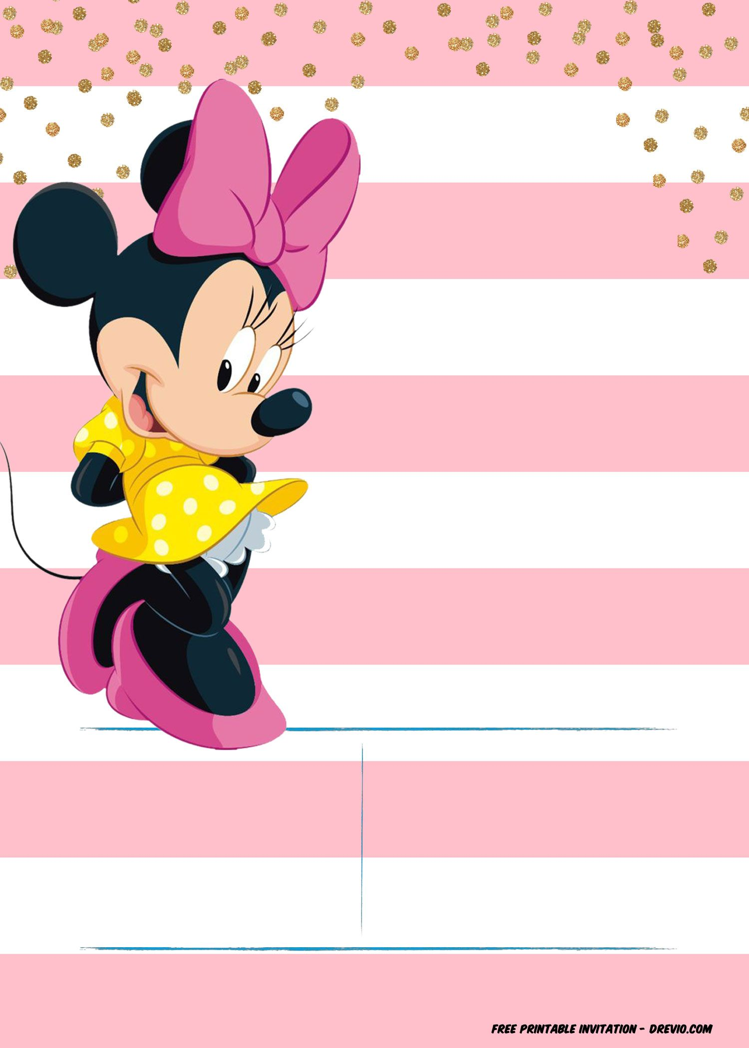 Minnie Mouse Invitation Template Editable and FREE