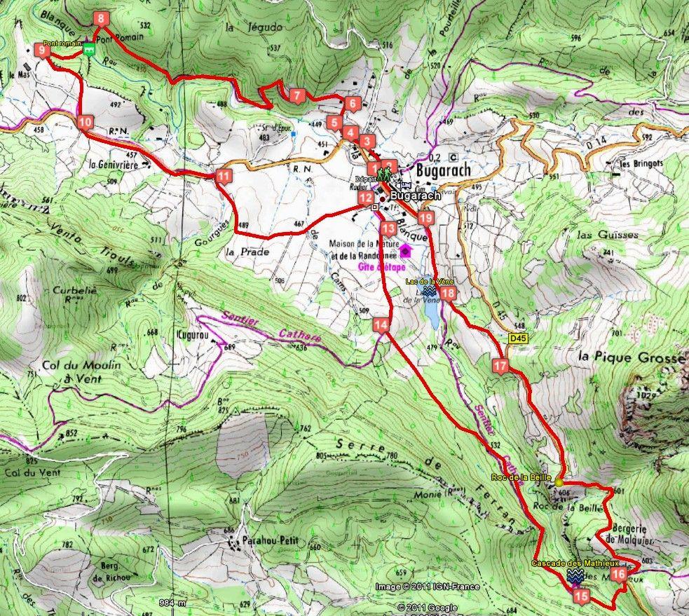 Circuit de randonnée : Bugarach, le Pont Romain et Bugarach, la Cascade des Mathieux