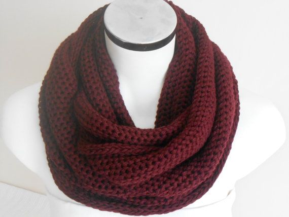 Bordeaux men scarves, Bordeaux men infinity scarf, Burgundy Knitted scarf,  Men tube scarf, Bordeaux unisex scarf, soft burgundy scarf