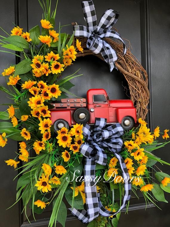 Photo of Red Truck Wreath, Red Truck, Farmhouse Truck Wreath, Farmhouse Wreath, Everyday Red Truck Wreath, Sassy Doors Wreaths,