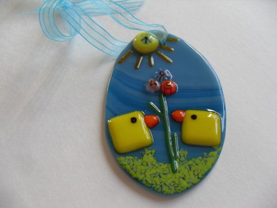 Fused glass easter egg ornament turquoise with by sherrylee16, $15.00