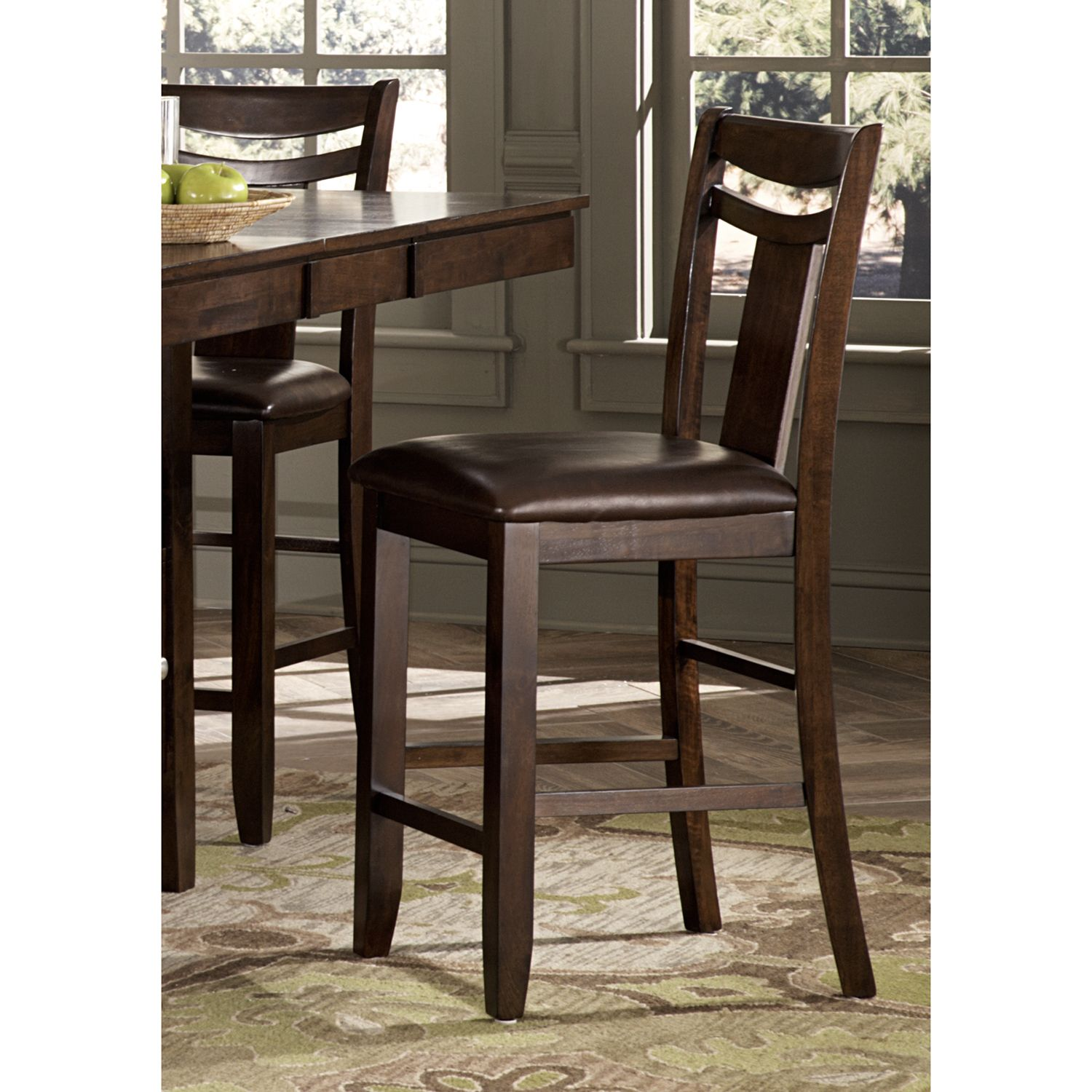 Marsden Dark Brown 24-inch High Back Counter Height Stool by TRIBECCA HOME  (Set of 2) by INSPIRE Q
