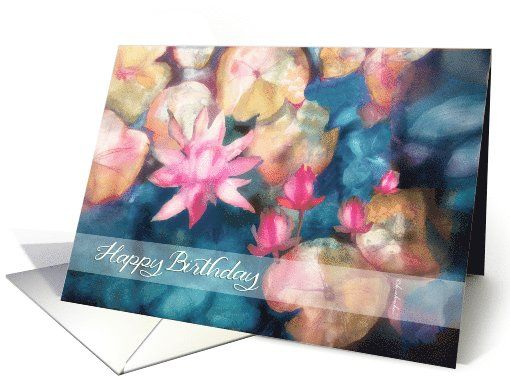 Happy Birthday, water lilies watercolor painting, Irish blessing card