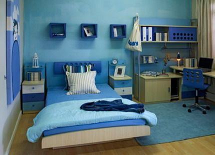 Blue Bedroom For Boys bold blue wall decoration and beds furniture sets in modern boys